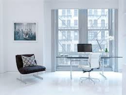 white loft cool black and white home office interior set with glass desk in