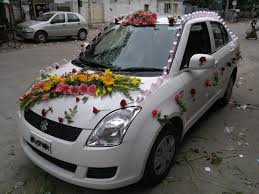 car ribbon simple car decoration for wedding with using flower arrangement
