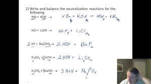 acid base neutralization worksheet worksheets