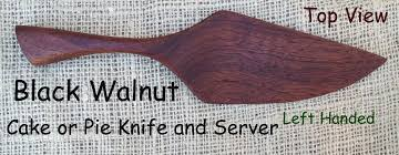 black walnut cake or pie knife and server left handed hand made
