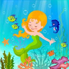 ocean background cute mermaid icon colorful cartoon design vector