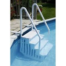 wedding cake above ground pool step with liner pad white pool