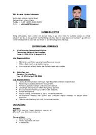 Best Resume Format For Garment Merchandiser by Forhad Hossain Cv