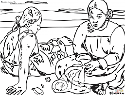 tahitian women on the beach by paul gauguin painting coloring page