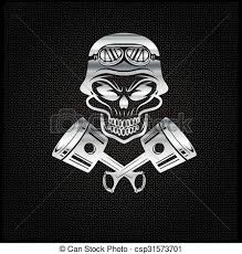 silver biker theme design template with pistons and skull in