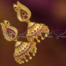 buy jhumka earrings online j6826 gold plated ruby peacock screwback south indian jhumka