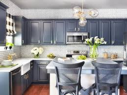 Gold Kitchen Cabinets Blue Painted Kitchen Cabinets White Marble Countertop Upholstered