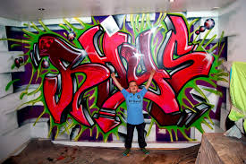 Cute Black White Graffiti Mural Teen Bedroom Interior Design Idea - Graffiti bedroom