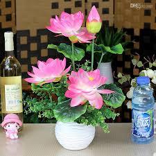 Fake Flower Arrangements 2017 Wholesale Artificial Lotus Flower Bouquet Set With White Vase