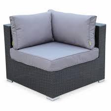 canapé d angle jardin salon de jardin en résine tressée de 7 places noir canapé d angle et