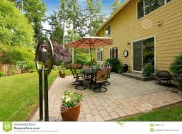 home patio area overlooking beautiful landscaping royalty free