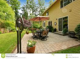 big house with backyard patio area stock photo image 44891119