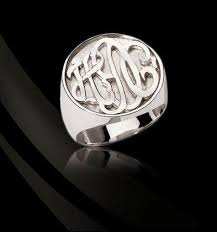 monogrammed silver ring monogrammed sterling silver ring the monogram merchant