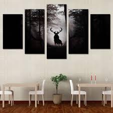 Decorating Living Room Wall Decorate 5 Piece Canvas Art Hd Print Deer Elk Moose Reindeer Painting Wall