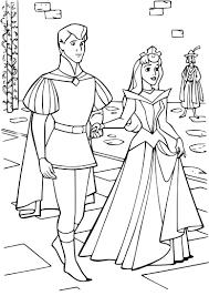 Coloriage Princesse Aurore et le prince à imprimer sur COLORIAGES info
