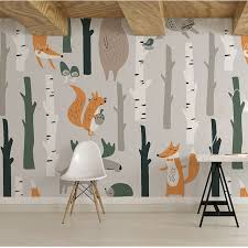 Children Wallpapers Cartoon Animal Removable Wall Cloth Self