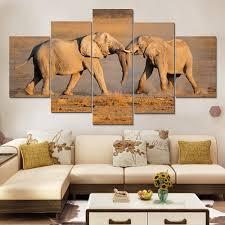 artryst modern printed elephant oil painting 5 panel cuadros