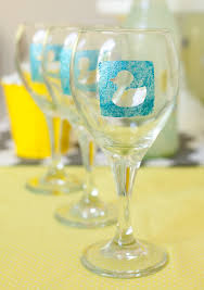 diy monogram wine glasses duck baby shower diy personalized wine glasses frog prince paperie