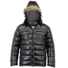 mens jacket brave soul coat padded hooded puffer faux fur shiny