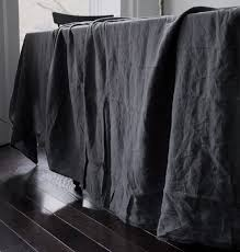 Black And White Table Cloth Garment Dyed Linen Tablecloth Trnk