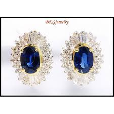 gold diamond earrings blue sapphire jewelry 18k yellow gold diamond earrings e0043