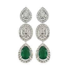 emerald drop nigaam 18k white gold diamond and emerald drop earrings