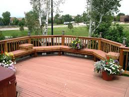 Deck Ideas For Small Backyards Exterior Brown Wooden Patio Deck With Curved Bench And Railing