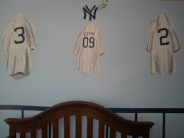 hand painted childrens nursery kids boys wall murals long island ny new york yankees locker room jersies jersey wall mural
