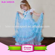 2015 new design birthday dress for baby girls sky blue party dress