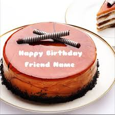 write your friend name on birthday cake with chocolate stick