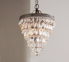 Chandelier With Black Shade And Crystal Drops Clarissa Crystal Drop Small Round Chandelier Pottery Barn