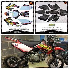 crf70 black plastics geico graphics seat pit bike 140 150 160