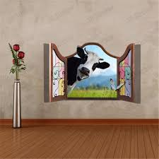 Wall Decor Stickers by 3d Dairy Cow Artificial Window View Cattle 3d Wall Decals Stickers