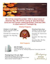 november programs fallsburg library