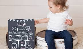 custom baby milestone chalkboard pinkypine s paperie groupon