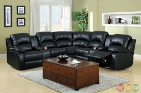 furniture outstanding small black leather reclining sectional
