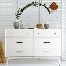 Bedroom Dressers White Mid Century 6 Drawer Dresser White West Elm