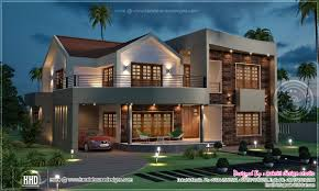 night view of luxury villa in 3800 sq feet kerala home design