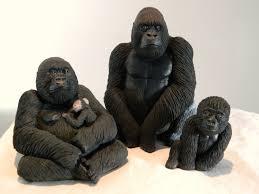 set of three gorilla sculptures family of gorillas including