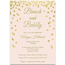 brunch wedding invitation bridal shower invitations pink and gold confetti