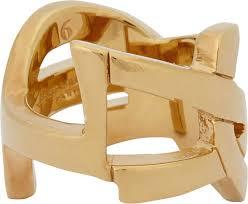 Monogram Rings Gold Saint Laurent Cassandre Monogram Ring In Metallic For Men Lyst