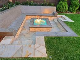 Fire Pit Glass by Raised Gas Fire Pit With Crushed Glass Stone Cladding And