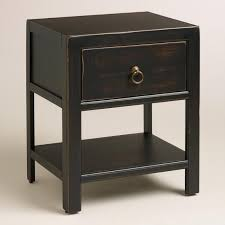 Black Wood Nightstand Antique Black Wood Ovid Nightstand World Market