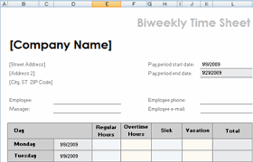 biweekly time sheet template