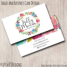watercolor wreath business card 2 sided calling card boutique