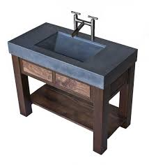 hand crafted steel and walnut vanity with integral concrete sink