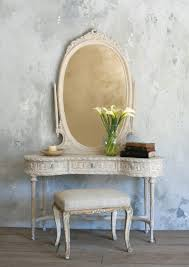 Thin Vanity Table Broken White Wooden Vanity Table Combined With Oval Mirror Plus
