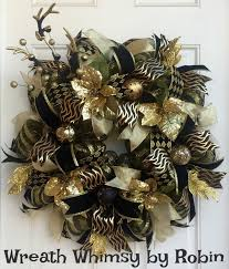 gold u0026 black deco mesh holiday wreath with antler spray christmas