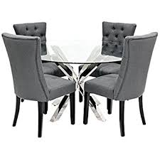 Glass Circular Dining Table 110cm Glass Dining Table And Charcoal Chairs Set