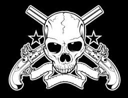 skull with crossed guns decal sticker